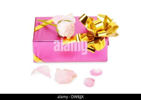 Pink gift box with rose flower isolated on white background - Stock Photo