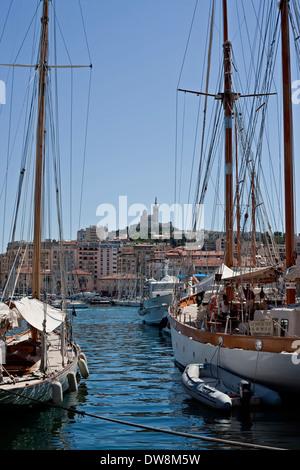 harbour view of the Notre Dame de la Garde, Marseilles France - Stock Photo
