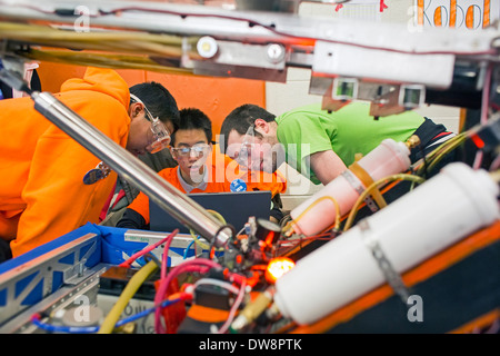 High School Students in Robotics Competition - Stock Photo
