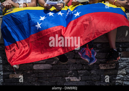 Caracas, Venezuela. 3rd Mar, 2014. Demonstrators are covered with a national flag of Venezuela during a anti-government protest in Caracas, Venezuela, on March 3, 2014. Credit:  Boris Vergara/Xinhua/Alamy Live News Stock Photo