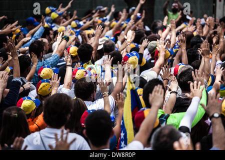 Caracas, Venezuela. 3rd Mar, 2014. Demonstrators participate in a anti-government protest in Caracas, Venezuela, on March 3, 2014. Credit:  Boris Vergara/Xinhua/Alamy Live News Stock Photo