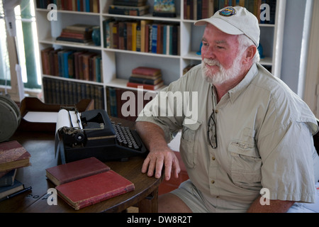 'Hemingway Look-Alike Contest,' winner Rick Kirvan at the Ernest Hemingway Home & Museum, Key West, Florida, USA - Stock Photo