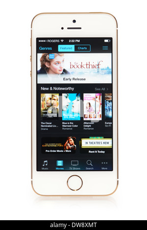 iTunes Movie Store, App running on iPhone 5S iPhone 5 S - Stock Photo