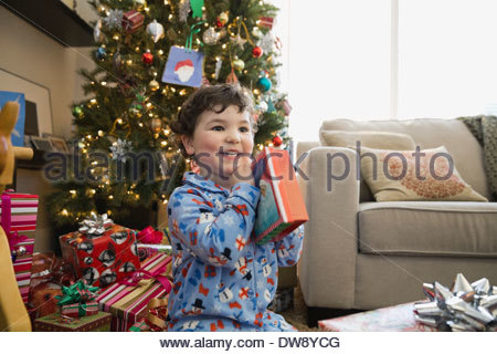 Boy with Christmas gift in living room - Stock Photo