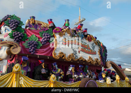 New Orleans, Louisiana, 2 March, 2014. The Krewe of Bacchus prepares to kick off the Mardi Sunday parade themed, - Stock Photo