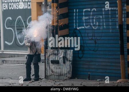 Caracas, Venezuela. 3rd Mar, 2014. A member of the Bolivarian National Police participates in a clash against demonstrators during a protest in Altamira, east Caracas, Venezuela, on March 3, 2014. Credit:  Boris Vergara/Xinhua/Alamy Live News Stock Photo