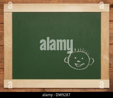 smiling face on blackboard - Stock Photo
