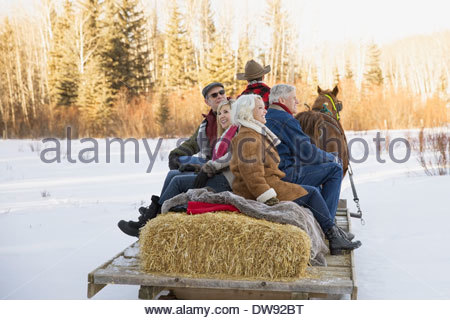 Mature friends riding on horse-drawn sleigh - Stock Photo