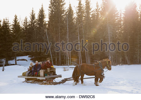 Friends riding horse-drawn sleigh in snow - Stock Photo