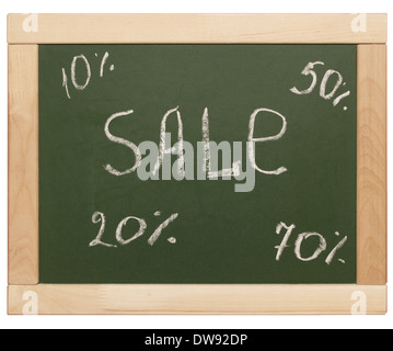 word 'sale' written on blackboard - Stock Photo