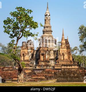 Wat Mahathat temple, Sukhothai Historical Park, Thailand - Stock Photo