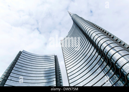 UniCredit Tower, headquarters of the Italian bank UniCredit, Milan, Lombardy, Italy - Stock Photo