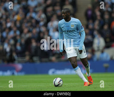 Wembley, London, UK. 2nd March, 2014. Capital One Cup Final - Manchester City v Sunderland.  Yaya Toure (MC) **This - Stock Photo