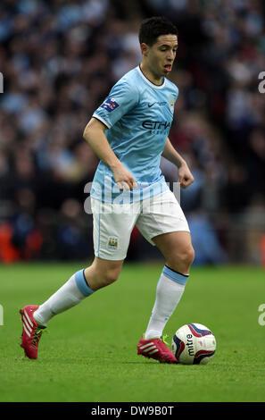 Wembley, London, UK. 2nd March, 2014. Capital One Cup Final - Manchester City v Sunderland.  Samir Nasri (MC) **This - Stock Photo