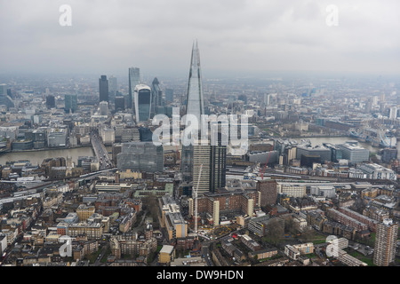 Aerial Photograph showing The Shard with the City of London and London Bridge in the Background - Stock Photo