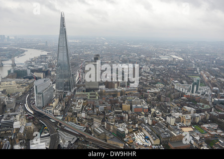 Aerial Photograph showing The Shard and Surroundings in Southwark, London, United Kingdom - Stock Photo