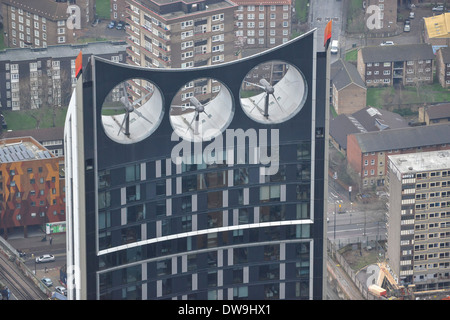 A close-up Aerial Photograph of the wind turbines on the roof of Strata SE1 at Elephant & Castle in South London - Stock Photo