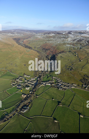 Aerial Photograph showing Gunnerside in the Yorkshire Dales in Winter - Stock Photo