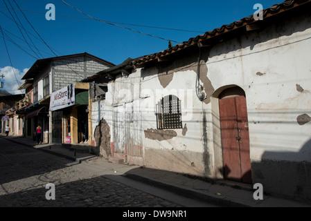 Buildings along the street Barrio El Centro Copan Copan Ruinas Honduras - Stock Photo