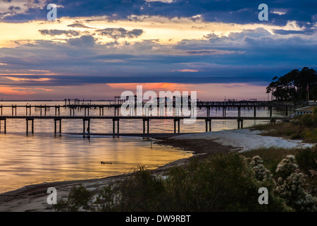 Piers extend into the Santa Rosa Sound at Navarre, Florida - Stock Photo