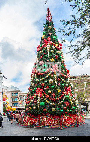 Very large and tall decorated Christmas Tree lit-up at night in ...