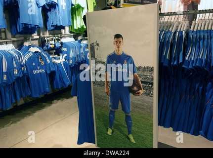 Poster of Gareth Bale in Real Madrid official shop in Bernabeu Stadium, Madrid, Spain - Stock Photo