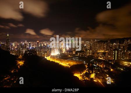 Aerial view of rush hour Hong Kong at night, China - Stock Photo