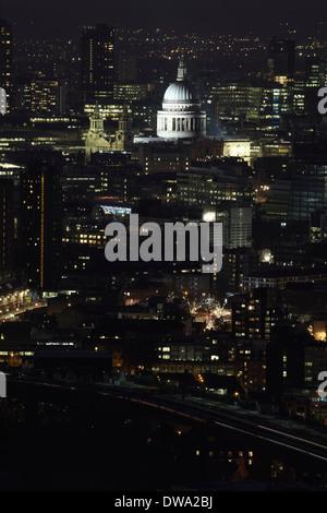 Aerial view of St Pauls at night, London, UK - Stock Photo