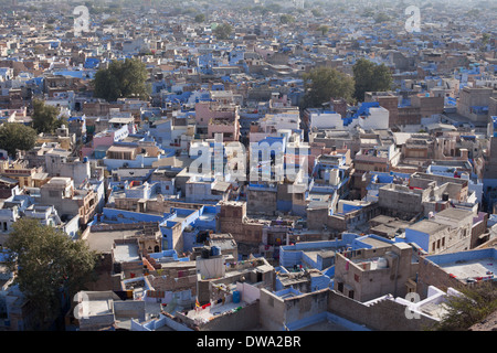 Aerial view of the blue city, Jodhpur, Rajasthan, India - Stock Photo