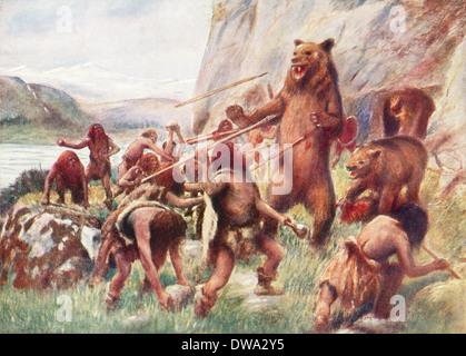 Prehistoric Man, Stone Age Hunters Stock Photo: 135042925 ...