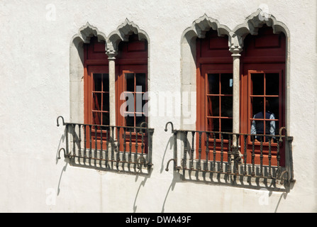 Wall with Mudéjar-style mullioned windows at the Sintra National Palace, a UNESCO World Heritage Site, Lisbon region, - Stock Photo