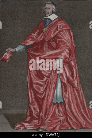 Cardinal Richelieu (1585-1642). French Catholic clergyman and statesman. Engraving era. Later colouration. - Stock Photo