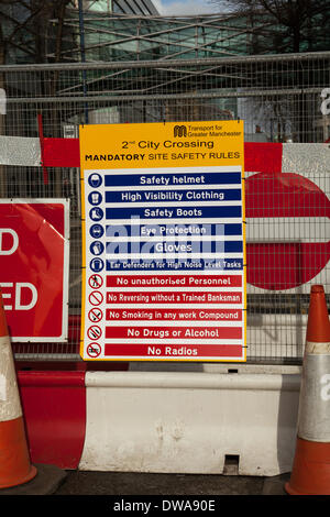 Manchester UK. 4th March, 2014. PPE signs, personal protective equipment, safety footwear, hard hats, eye protection, - Stock Photo