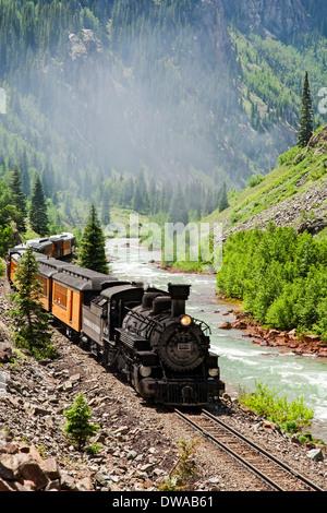 Durango & Silverton Narrow Gauge Railroad and Animas River, Colorado USA - Stock Photo
