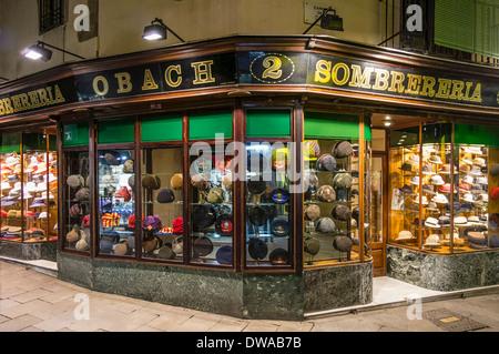 Obach Sombrereria, Famous hut shop, Barcelona, Spain - Stock Photo