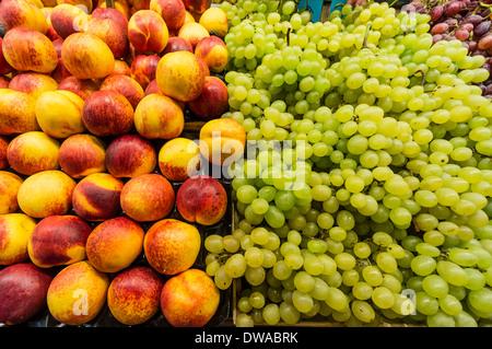 Fruits at La Boqueria Market in Barcelona, Spain - Stock Photo