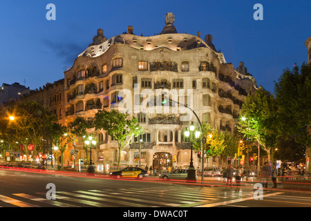 Casa Mila by Gaudi at twilight, laterne,Passeig de Gracia, - Stock Photo