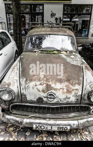 Opel Oldtimer from 1956 in Berlin Kreuzberg , last washed in 1977, - Stock Photo