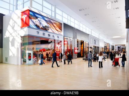 Tesla Motors retail store at Yorkdale Shopping Centre, Toronto, Ontario, Canada 2014 - Stock Photo