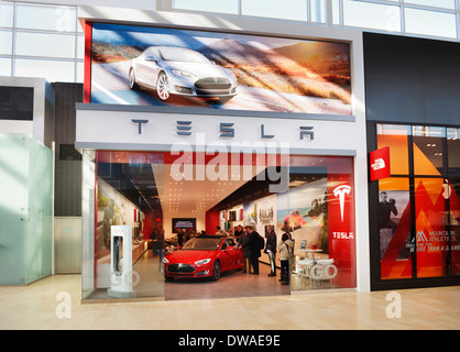 Tesla Motors store display at Yorkdale Shopping Centre, Toronto, Ontario, Canada 2014 - Stock Photo