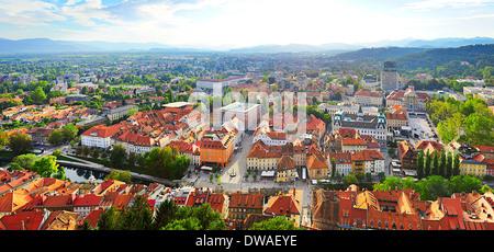 Panoramic aerial view of Ljubljana city . Slovenia - Stock Photo