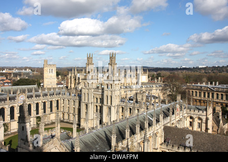 All Souls And New College Oxford In The Snow Stock Photo