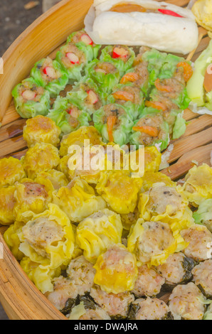 Chinese Steamed Dumpling sale in the fresh food market at Rayong Thailand - Stock Photo