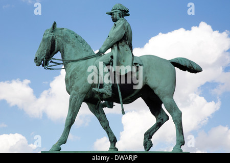 Equestrian statue of King Christian IX standing in Amalienborg Slotsplads in Copenhagen - Stock Photo
