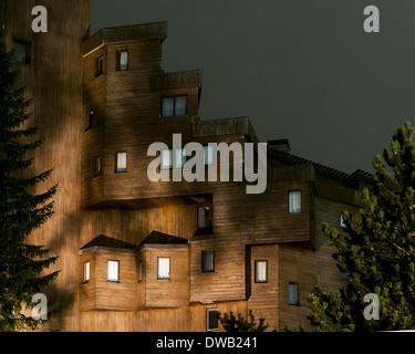 Avoriaz, Avoriaz, France. Architect: Jacques Labro, Simon Cloutier, Jean-Jacques Orzoni, 2014. Sassafras (Summer). - Stock Photo
