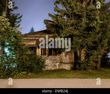 Avoriaz, Avoriaz, France. Architect: Jacques Labro, Simon Cloutier, Jean-Jacques Orzoni, 2014. Chalet (Summer). - Stock Photo