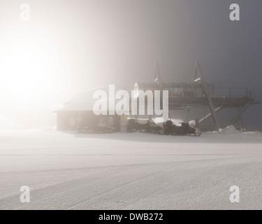Avoriaz, Avoriaz, France. Architect: Jacques Labro, Simon Cloutier, Jean-Jacques Orzoni, 2014. Ski lift. - Stock Photo