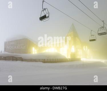 Avoriaz, Avoriaz, France. Architect: Jacques Labro, Simon Cloutier, Jean-Jacques Orzoni, 2014. Aquoriaz (2011) Winter. - Stock Photo