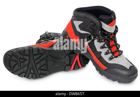 Men's winter boots genuine leather. Fashionable youth shoes - Stock Photo