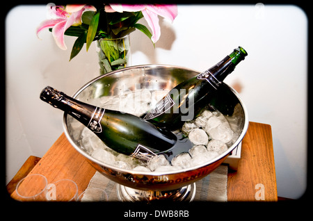 Two Bottles of Champagne on Ice.. - Stock Photo